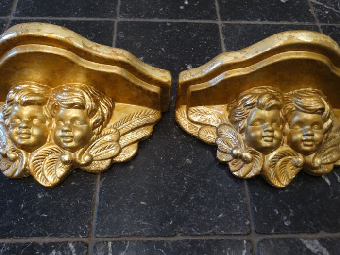 angels consoles with gold leaf (2) - Ceramic