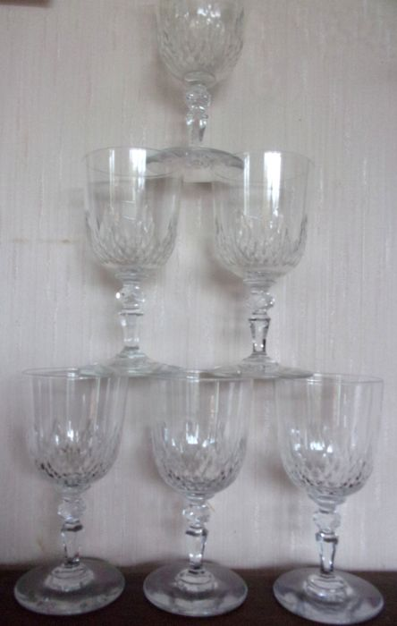 Baccarat 6 Red Wine Glasses Model Richelieu Crystal Catawiki