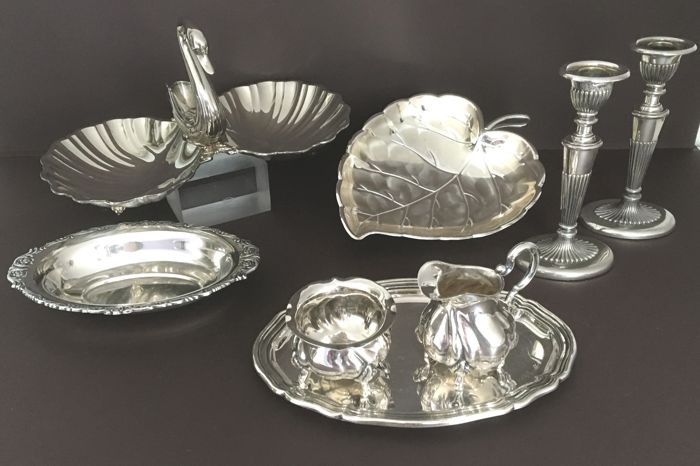 2 candlesticks, 3 bowls and 1 cream set - various silver-plated items of 8 - Silver plated - netherlands, Germany - 1950-1999