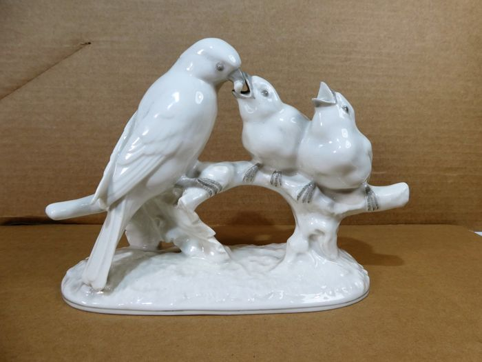 Hutschenreuther - Picture birds on branch - Porcelain