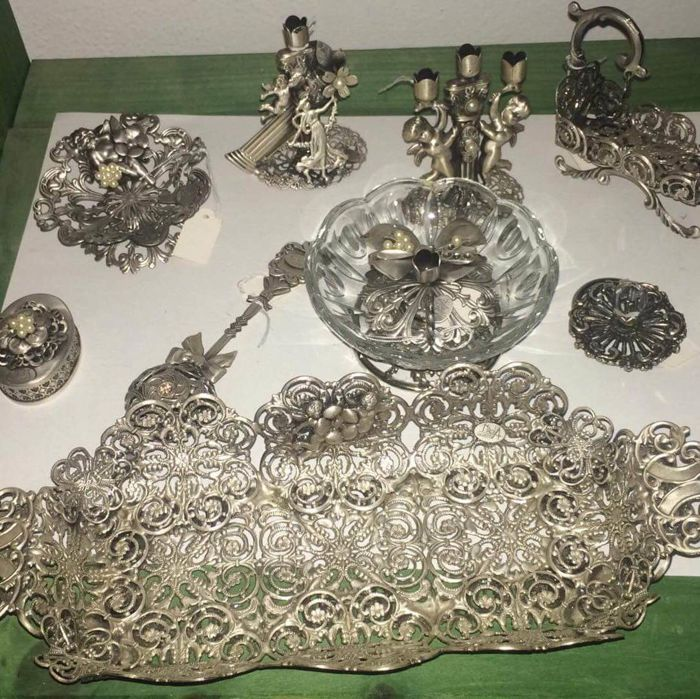 miniature scissors-candelabra-frame-basket-cradle-4 trunks-2trays-flask-2-bookmark-rattle - Collection of 22 - .925 silver, Silverplate - pre 1960 - Italy - pre 1960