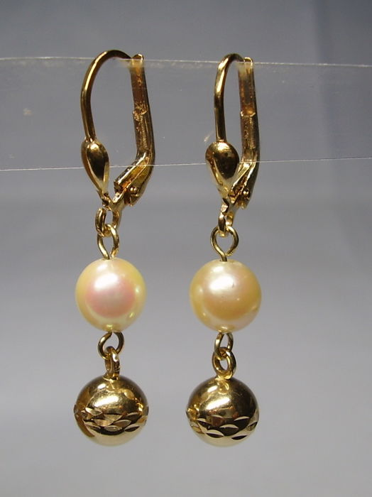 Earrings - Akoya pearls, Gold - 4 ct - Pearl