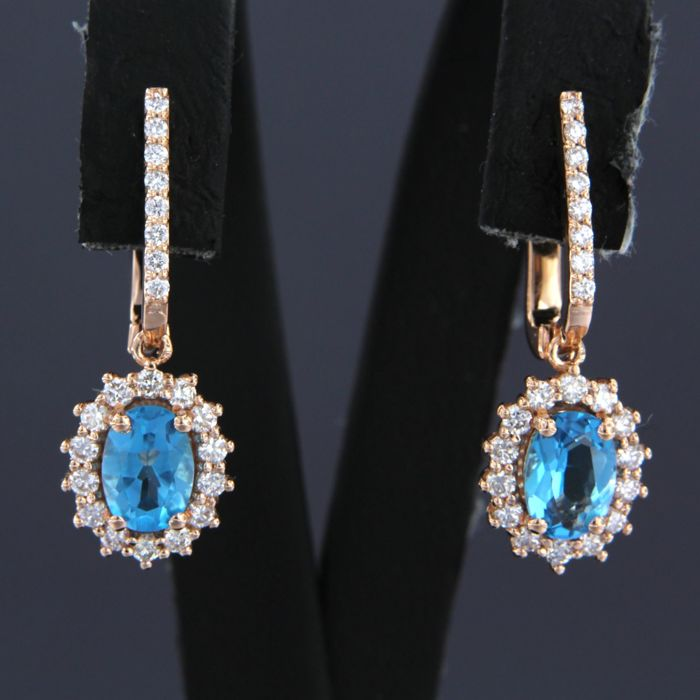 Earrings - Pink gold - 0.58 ct - Diamond and Topaz