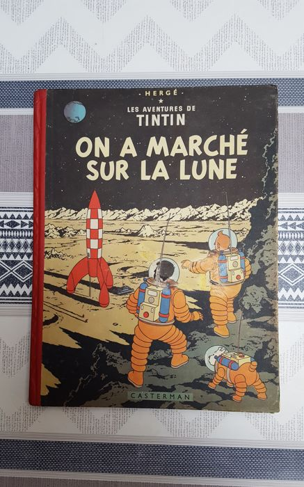 Tintin T17 - On a marché sur la lune (B11 belge) - Hardcover - First edition - (1954)