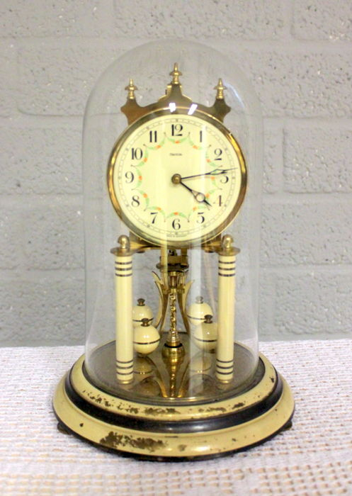 Stolp table clock - FHS, Hermle - Brass and glass - First half 20th century