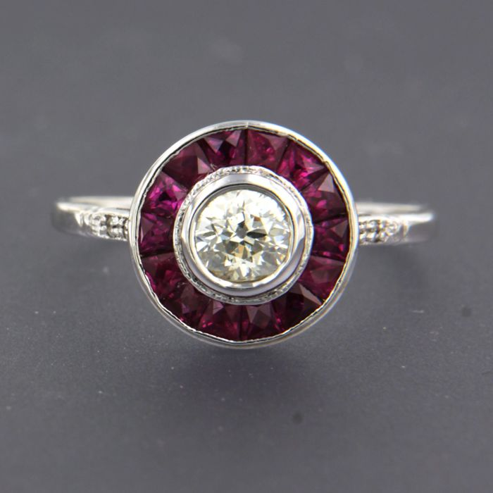 Ring - White gold - 0.44 ct - Diamond and Ruby