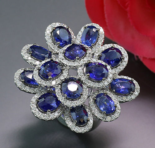 Ring - White gold - Sapphires + Diamonds 11.05 carats! NO reserve price