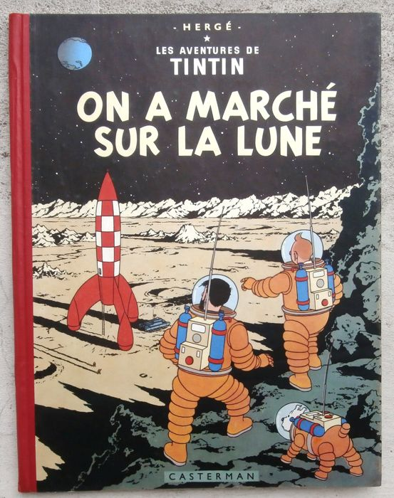 Tintin T17 - On a marche sur la lune (B11 belge) - First edition - (1954)
