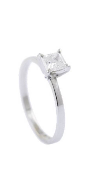 Ring - White gold - Commonly treated - 0.51 ct - Diamond