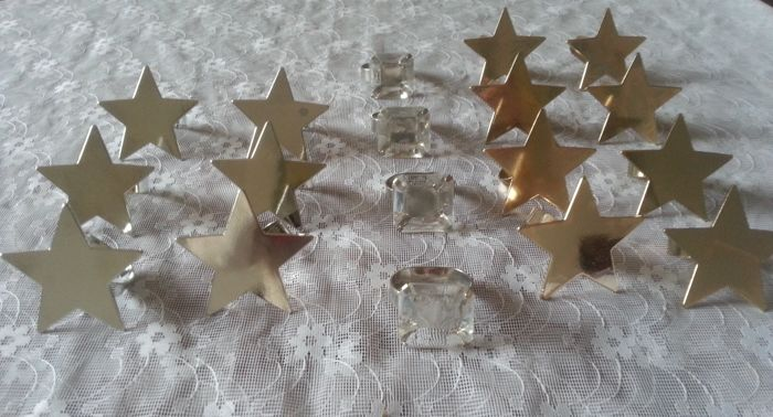 """18 Star and """"diamond"""" modern napkin rings - X-mas table gold and silver color - metal"""
