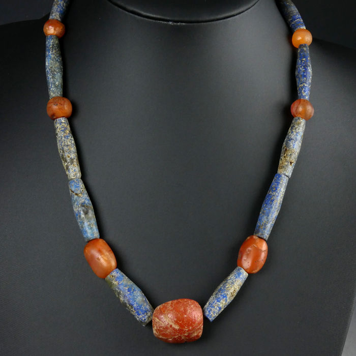 Ancient Carnelian Necklace with ancient lapis lazuli and carnelian beads, large size - (1)