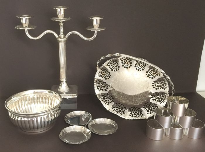 candlestick, bowls and napkin rings - Various objects of 10 - Silver plated - netherlands, Germany - 1950-1999