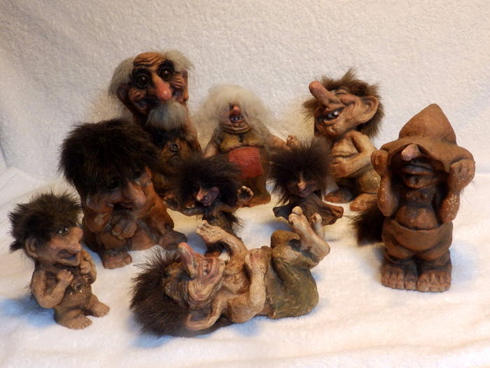 Collection Of 9 Norwegian Trolls Resin Polyester Catawiki
