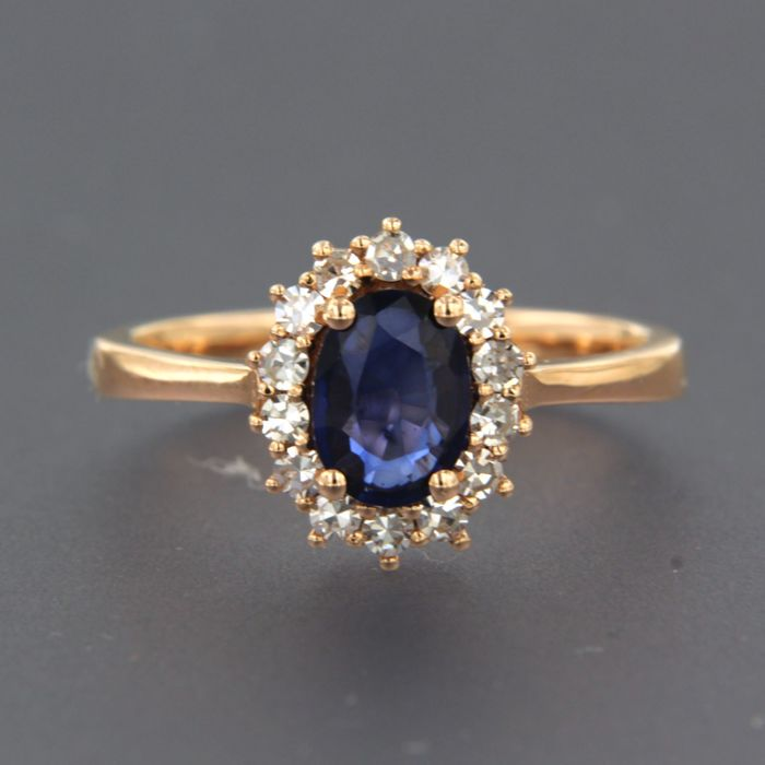 Ring - Pink gold - 0.28 ct - Diamond and Sapphire