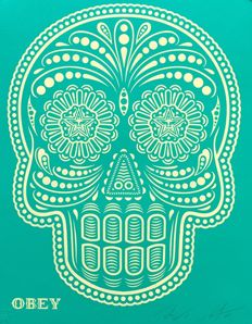 """Shepard Fairey (OBEY) & Ernesto Yerena - """"Obey Day of the Dead Skull"""" (HPM)"""