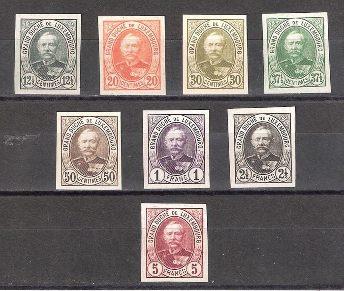 Luxembourg 1891 - Colour tests Adolphe with 5 Fr