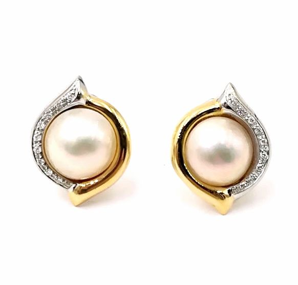 Earrings with Male 'Salt Water Pearl 12.53 mm - Gold, White gold - No indication of treatments - Pearl and Diamond