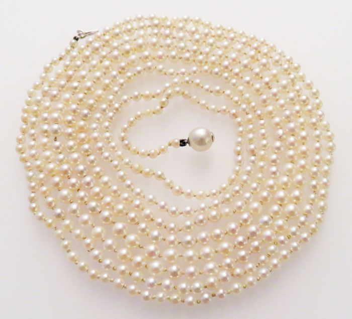 14K gold clasp, Necklace - Akoya pearls