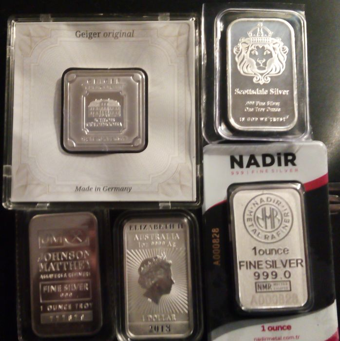 5 x 1 oz of silver (all of different refiners)