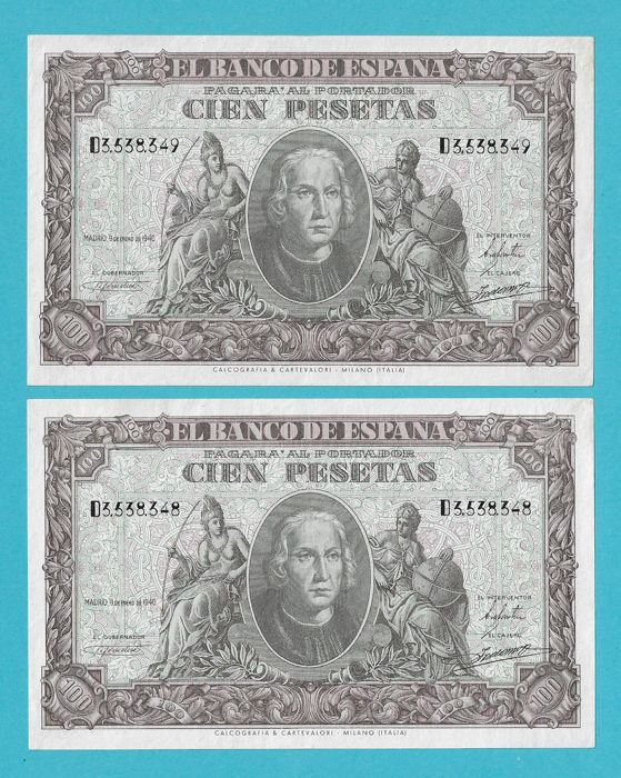Spain - 2 x 100 Pesetas  1940 - Serie-D - Pick 118 - Pareja Correlativa
