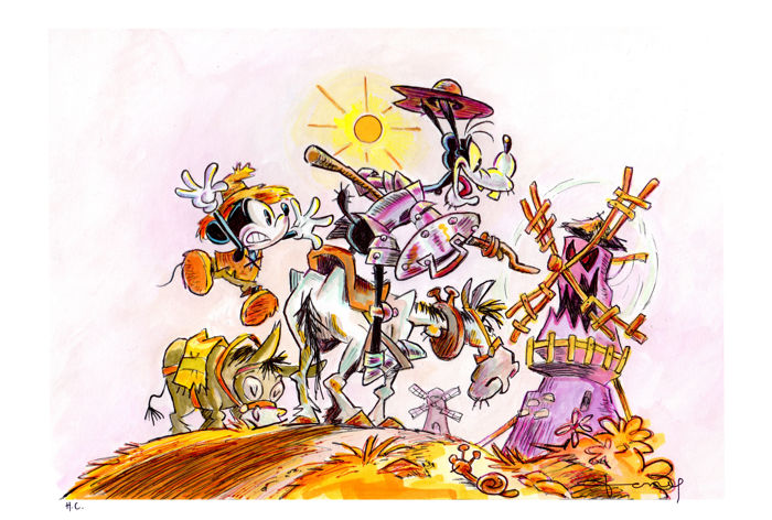Sir Quixote of La Mancha - Goofy & Mickey Mouse - Original H.C. Poster - 100 x 70 cm - Tony Signed - First edition