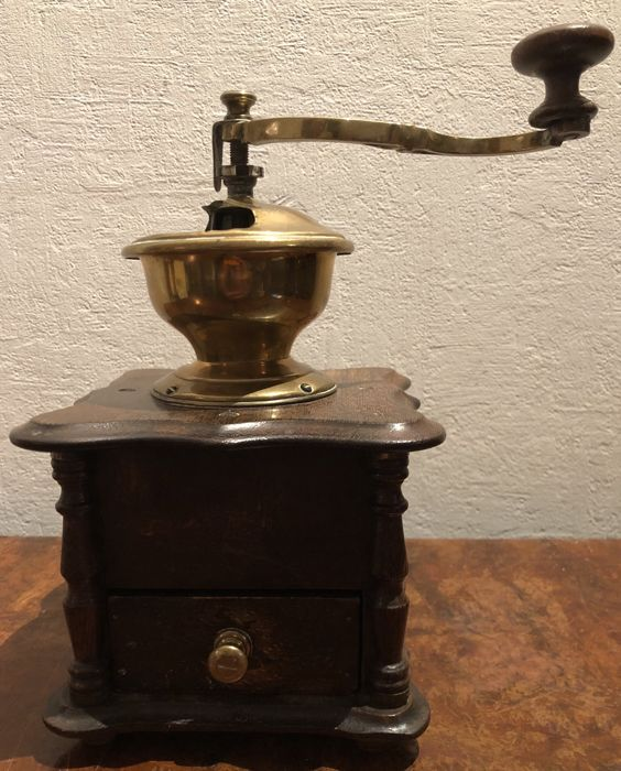 Coffee grinder - wood and brass