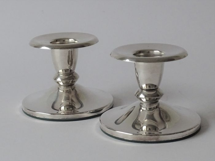 Two silver-plated candlesticks - Silver plated - Netherlands - 1950-1999
