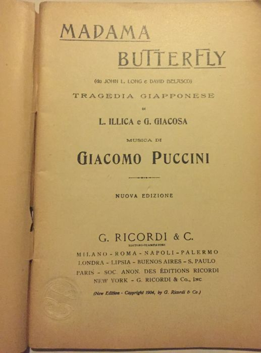 Frist Original Madame Butterfly Giacomo Puccini - Paper