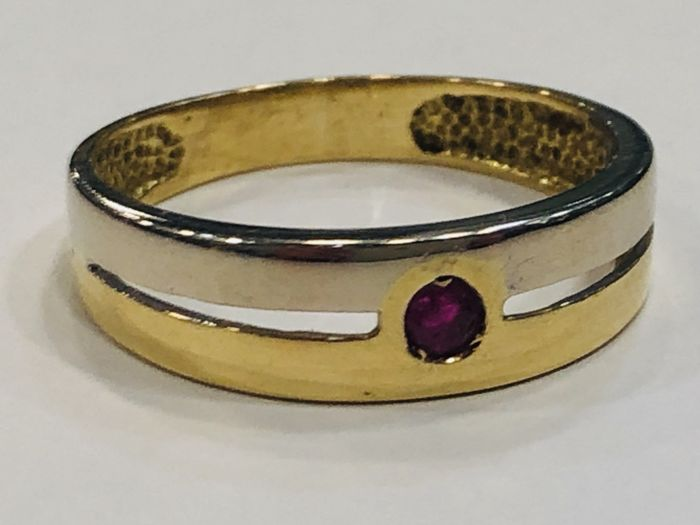 Ring - Bicolour, Gold - 0.01 ct - Ruby