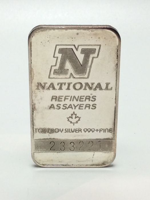 National Refiners - 1 oz troy - 999/1000 - Minted silver bar - with serial number