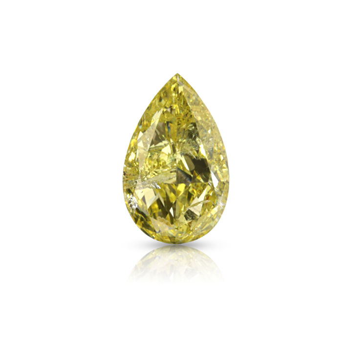 1 pcs Diamant - 1.00 ct - Peer - fancy yellow - P1