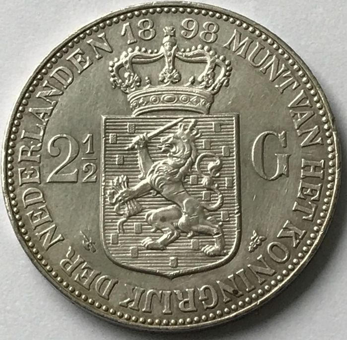 The Netherlands - 2 1/2 Gulden 1898 Wilhelmina - Silver