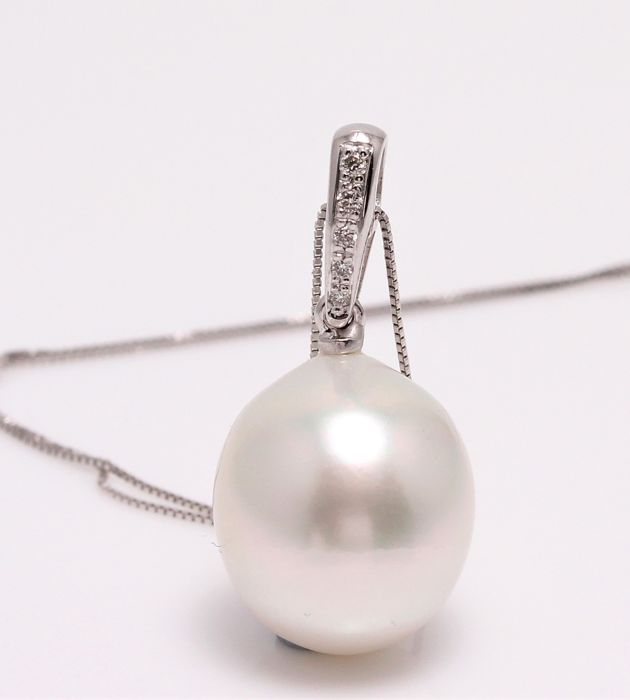 18 karaat Witgoud - 11x12mm South Sea Pearl - Halsketting met hanger - 0.04 ct
