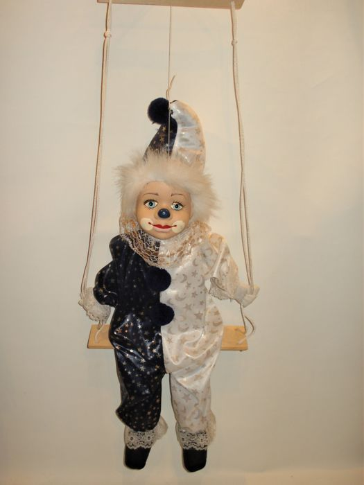Vintage Clown Doll on Swing - porcelain, fabric