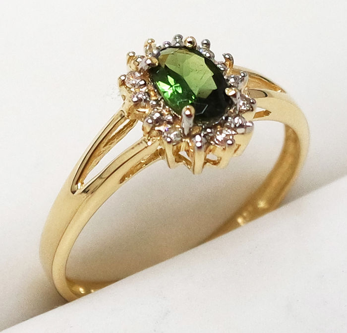 Ring - Gold - Tourmaline and Diamond