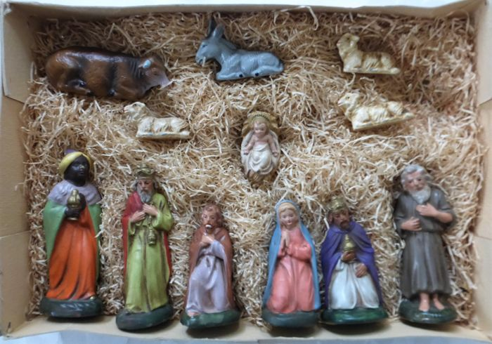 Marolin - Old Christmas group in box - 12-pieces - Papier-mache