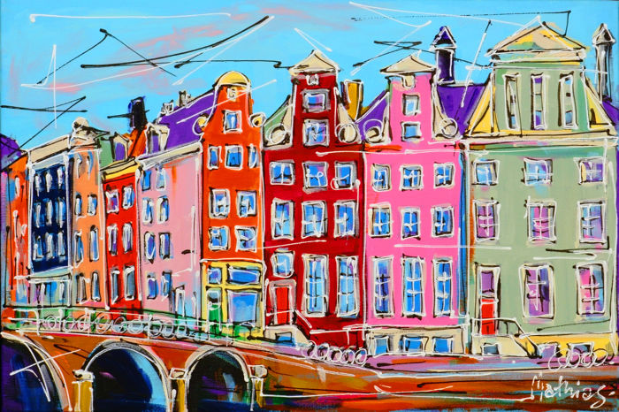 Mathias - Canal of Amsterdam, bridge and colored houses