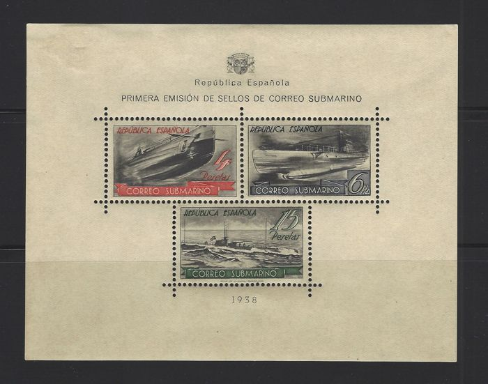 Spanje 1938 - Submarine post mini-sheet - Edifil 781
