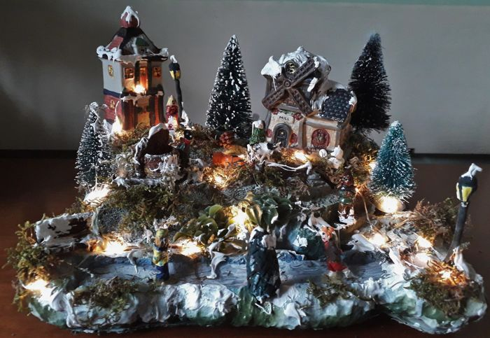 """Christmas scene """"Near the old Mill"""", with lighting - Wood, plastic, stone, raw materials"""