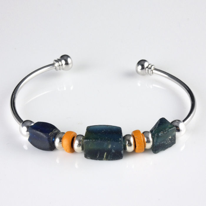 Ancient Roman Glass Bracelet with blue and orange glass beads - (1)