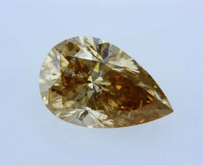 1 pcs Diamond - 3.01 ct - Pear - fancy orangy brown - SI1