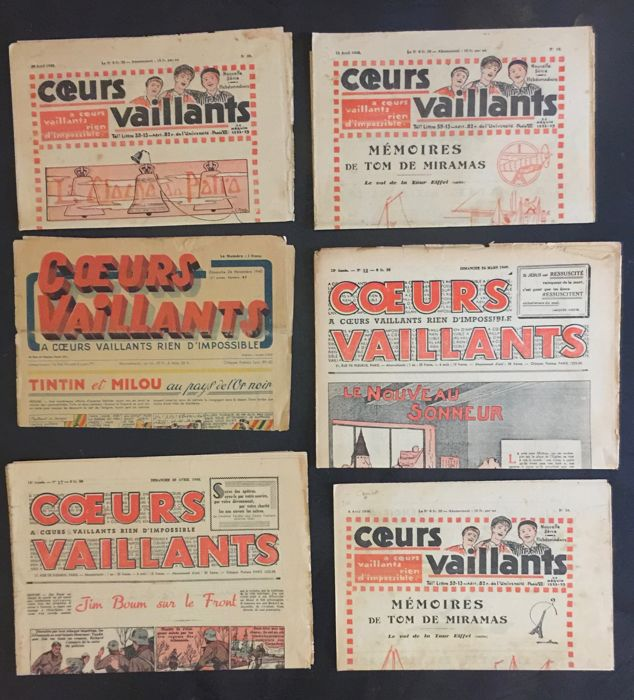 Tintin - 6x Coeurs Vaillants - Loose page - First edition - (1930/1940)