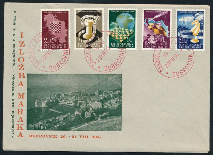 Yugoslavia 1950 - World Chess Championship, First Day Cover (FDC) with rotem Sonderstempel