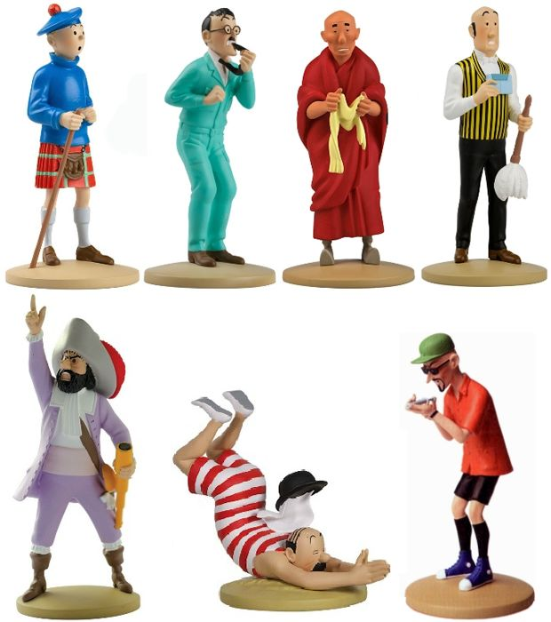 Tintin - 7 figurines Moulinsart - No. 22 + 26 + 29 + 31 + 44 + 55 + 104 - Hardcover - First edition - (2011/2015)