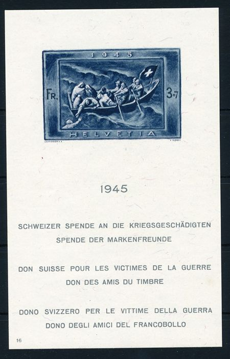 Switzerland 1945 - Block issue for the war victims - Michel No. Block 11