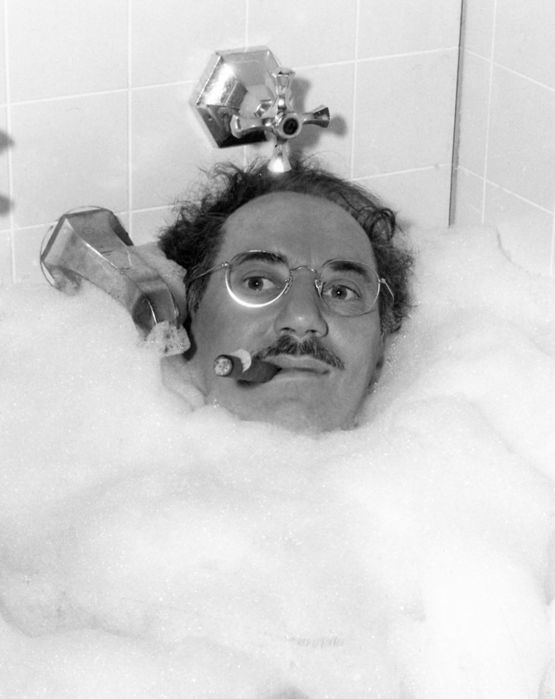 Weegee (1899-1968) - Groucho Marx taking a bubble bath, Hollywood, 1948