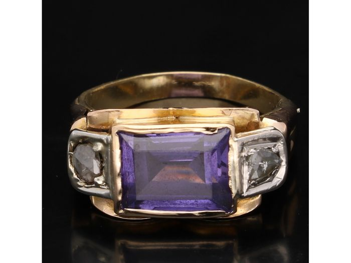 Ring - Gold - Amethyst and Diamond