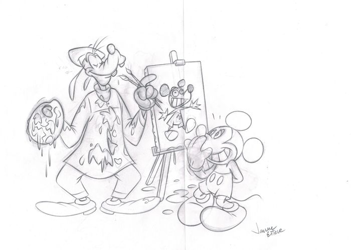 Goofy Painting Mickey - Original Sketch - Jaume Esteve