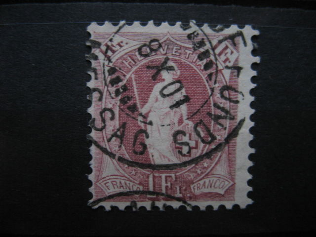 Switzerland 1882 - 1 Frank with rare perforation - Michel number 63D