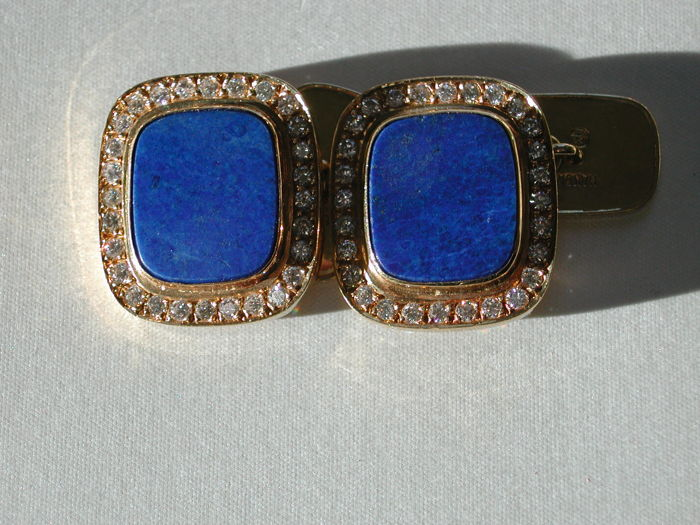 Cufflinks - Gold - Natural (untreated) - Lapis lazuli and Diamond